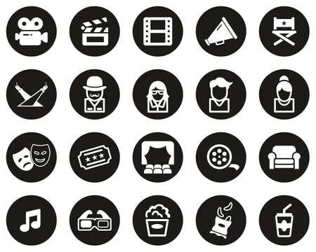 Movie Or Movie Industry Icons White On Black Flat Design Circle Set Big 向量圖像
