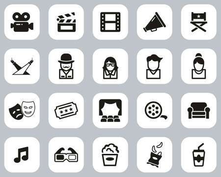 Movie Or Movie Industry Icons Black & White Flat Design Set Big