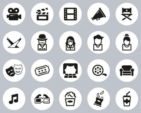 Movie Or Movie Industry Icons Black & White Flat Design Circle Set Big