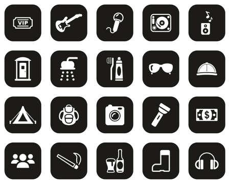 Music Festival Icons White On Black Flat Design Set Big