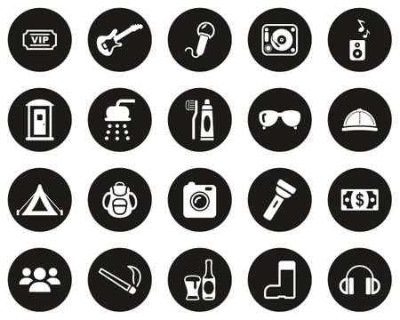 Music Festival Icons White On Black Flat Design Circle Set Big Ilustração