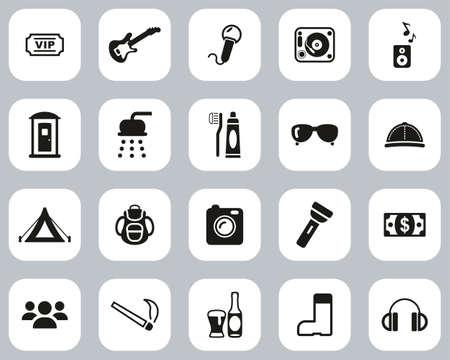 Music Festival Icons Black & White Flat Design Set Big