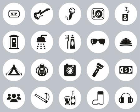 Music Festival Icons Black & White Flat Design Circle Set Big