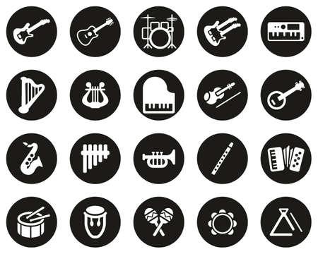 Icônes d'instruments de musique blanc sur noir Design plat cercle défini grand Vecteurs