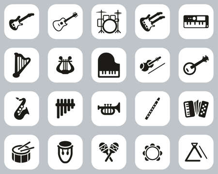 Musical Instruments Icons Black & White Flat Design Set Big