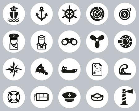 Nautical Vessel & Equipment Icons Black & White Flat Design Circle Set Big