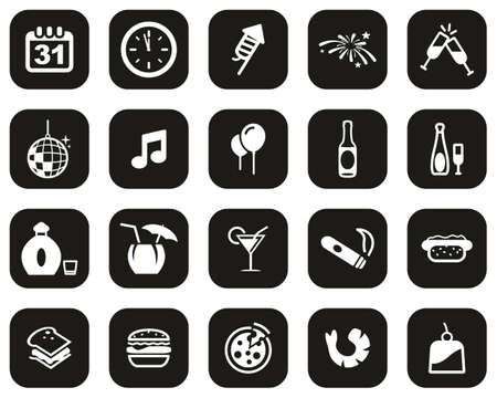 New Years Eve Or New Years Party Icons White On Black Flat Design Set Big
