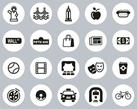 New York City & Culture Icons Black & White Flat Design Circle Set Big Vettoriali