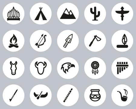 Native American Culture Icons Black & White Flat Design Circle Set Big