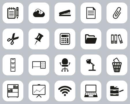 Office Supplies Icons Black & White Flat Design Set Big