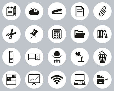 Office Supplies Icons Black & White Flat Design Circle Set Big Illustration