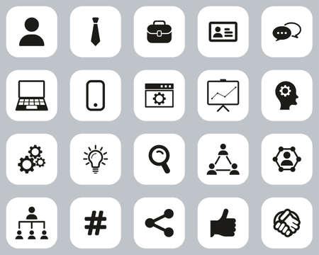 Office Worker Icons Black & White Flat Design Set Big