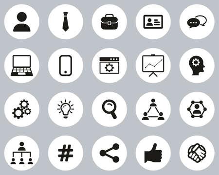 Office Worker Icons Black & White Flat Design Circle Set Big