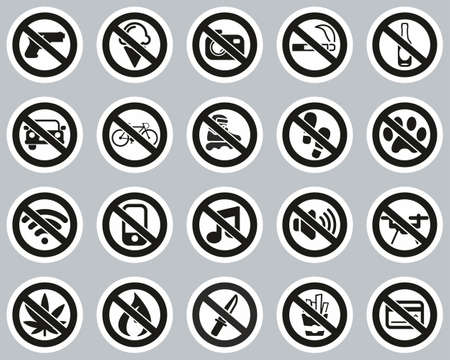 No Sign Or Forbidden Sign Icons Black & White Sticker Set Big