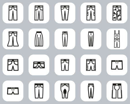 Pants Long & Short Icons Black & White Flat Design Set Big
