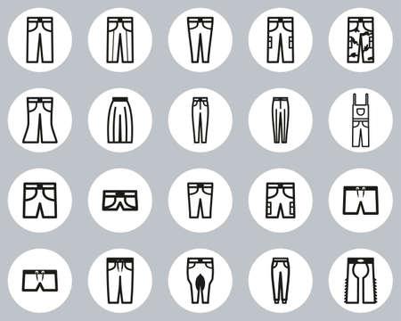 Pants Long & Short Icons Black & White Flat Design Circle Set Big