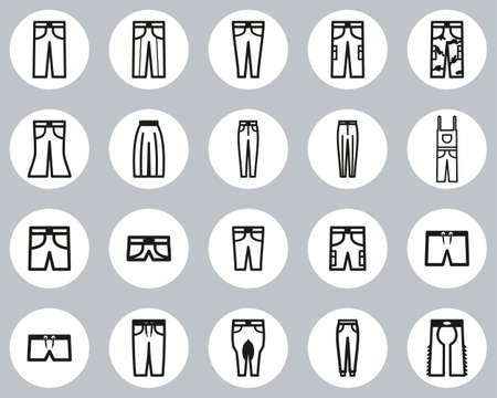 Pants Long & Short Icons Black & White Flat Design Circle Set Big