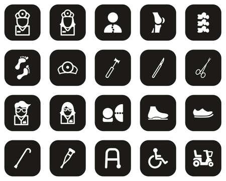 Orthopedic Exam & Orthopedic Equipment Icons White On Black Flat Design Set Big