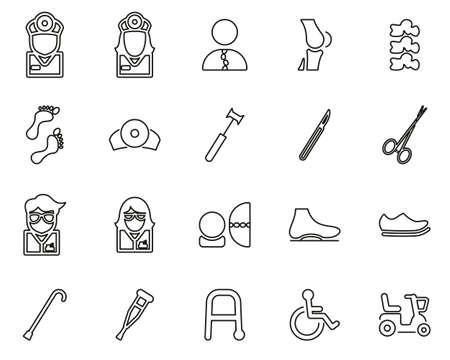 Orthopedic Exam & Orthopedic Equipment Icons Black & White Thin Line Set Big Illustration