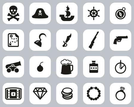 Pirate Icons Black & White Flat Design Set Big