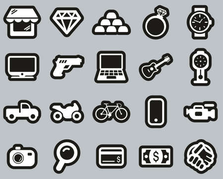 Pawn Shop Or Thrift Store Icons White On Black Sticker Set Big Illustration