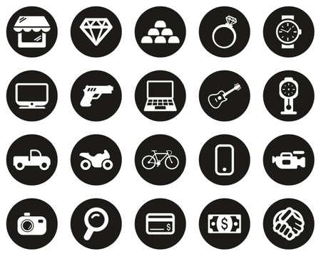 Pawn Shop Or Thrift Store Icons White On Black Flat Design Circle Set Big Illustration