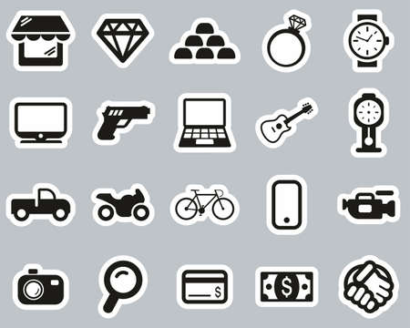 Pawn Shop Or Thrift Store Icons Black & White Sticker Set Big