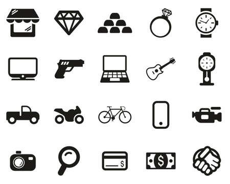 Pawn Shop Or Thrift Store Icons Black & White Set Big