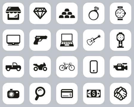 Pawn Shop Or Thrift Store Icons Black & White Flat Design Set Big Illustration