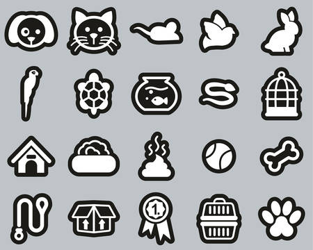 Pets & Pet Accessories Icons White On Black Sticker Set Big