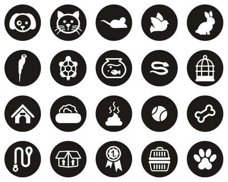 Pets & Pet Accessories Icons White On Black Flat Design Circle Set Big