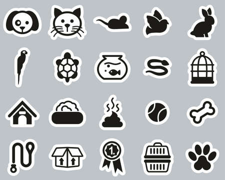 Pets & Pet Accessories Icons Black & White Sticker Set Big