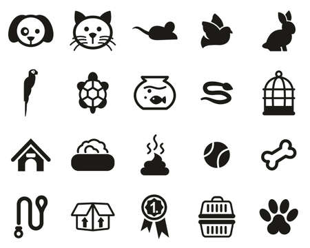 Pets & Pet Accessories Icons Black & White Set Big