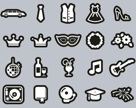 Prom Night Icons White On Black Sticker Set Big Иллюстрация