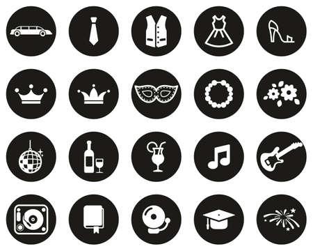 Prom Night Icons White On Black Flat Design Circle Set Big