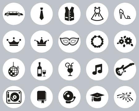 Prom Night Icons Black & White Flat Design Circle Set Big