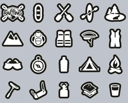 Rafting Or White Water Rafting Icons White On Black Sticker Set Big