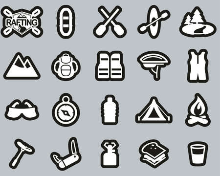 Rafting Or White Water Rafting Icons White On Black Sticker Set Big