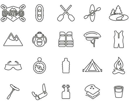 Rafting Or White Water Rafting Icons Black & White Thin Line Set Big