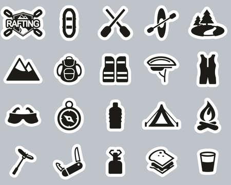 Rafting Or White Water Rafting Icons Black & White Sticker Set Big
