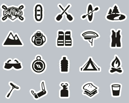 Rafting Or White Water Rafting Icons Black & White Sticker Set Big