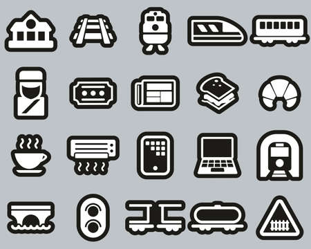 Railroad Travel & Cargo Transportation Icons White On Black Sticker Set Big
