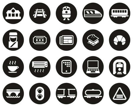 Railroad Travel & Cargo Transportation Icons White On Black Flat Design Circle Set Big