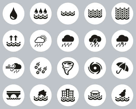 Rain & Flood Icons Black & White Flat Design Circle Set Big