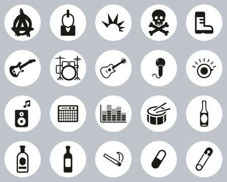 Punk Music & Culture Icons Black & White Flat Design Circle Set Big