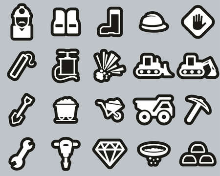 Quarry Or Mine Icons White On Black Sticker Set Big