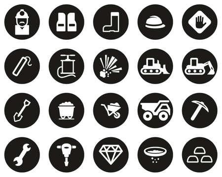 Quarry Or Mine Icons White On Black Flat Design Circle Set Big