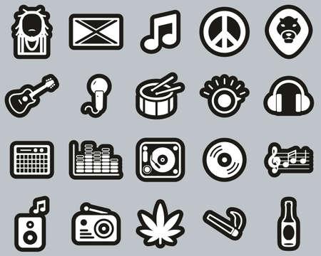 Reggae Music & Culture Icons White On Black Sticker Set Big Illustration