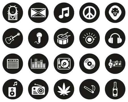 Reggae Music & Culture Icons White On Black Flat Design Circle Set Big