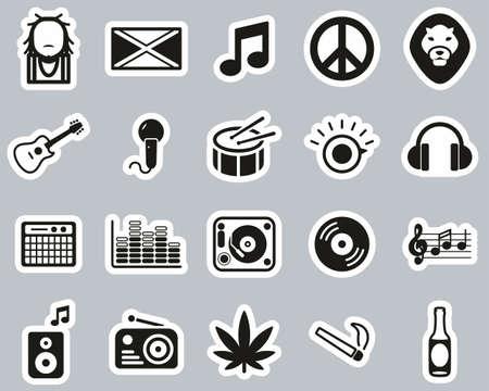Reggae Music & Culture Icons Black & White Sticker Set Big